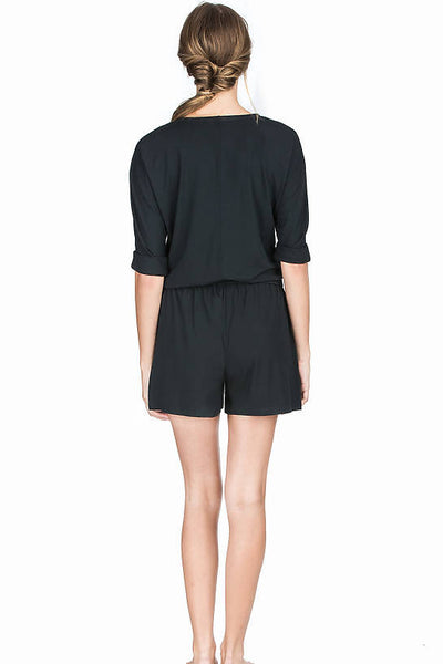 Lilla P Stretch Jersey Romper: Black
