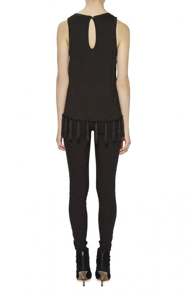 Nicole Miller Racer Back Tank with Tassels