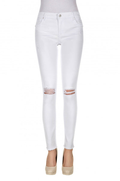 Tractr Distressed White Jean