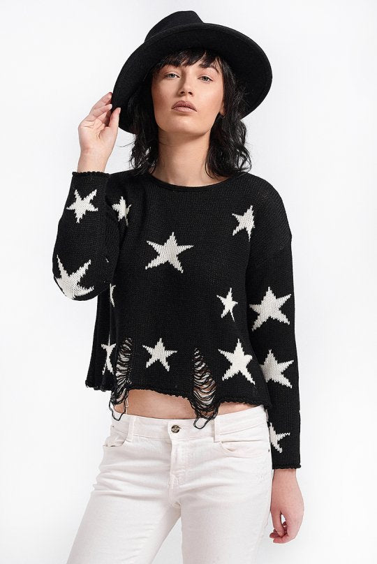 Aggel Starry Crop Sweater