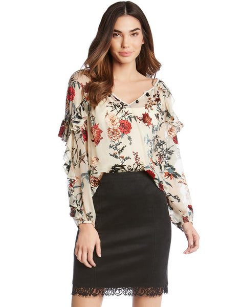 Fifteen-Twenty Burnout Ruffle Sleeve Blouse