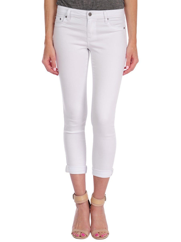 Tractr Mid Rise Ankle Crop Jean: White