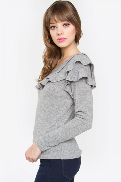 Sugarlips Grey Ruffle One Shoulder