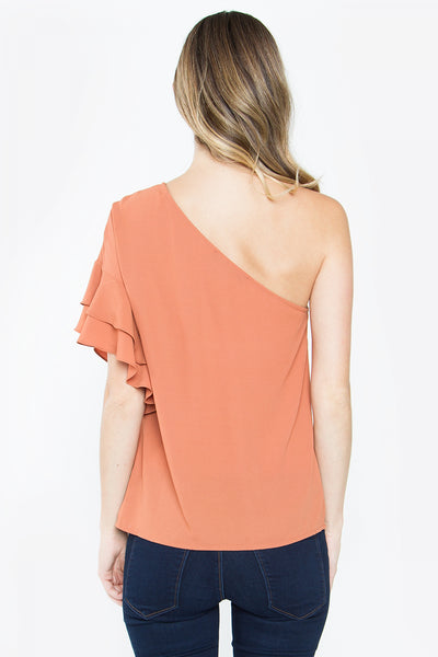 Sugarlips Clay One Shoulder Ruffle