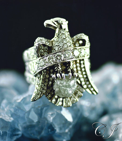 "Custom White Gold Diamond ""Eagle Ring"""