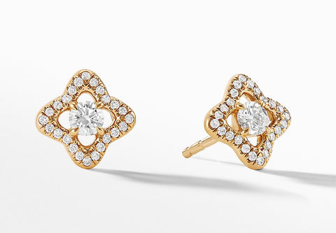 David Yurman Venetian Quatrefoil Earrings with Diamonds in 18K Gold