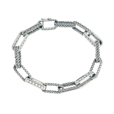 Tiffany & Co. 18k White Gold Diamond Oval Link Bracelet