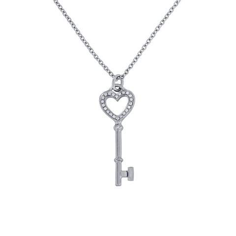 Tiffany & Co. 18k White Gold Diamond Heart Key Mini Pendant 1""
