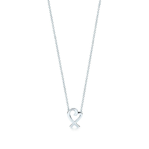 Tiffany & Co. Sterling Silver Paloma Picasso Loving Heart Pendant Necklace