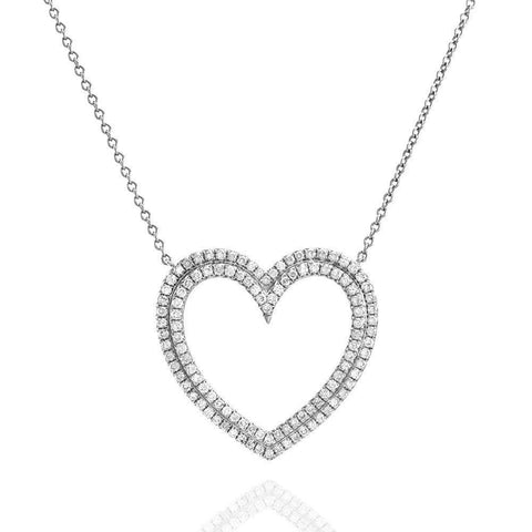 Tiffany & Co. Large Metro Platinum Diamond Double Row Heart Pendant Necklace