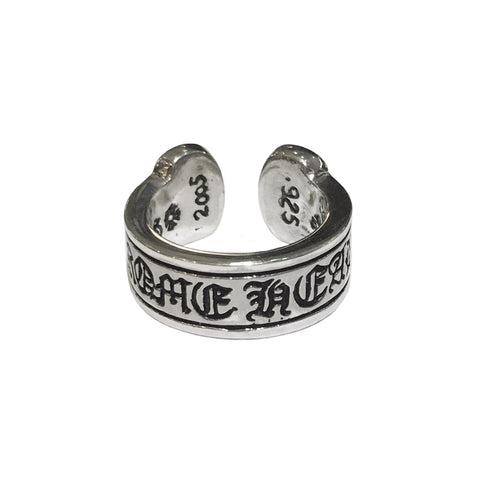 Chrome Hearts Silver Scroll Label Ring