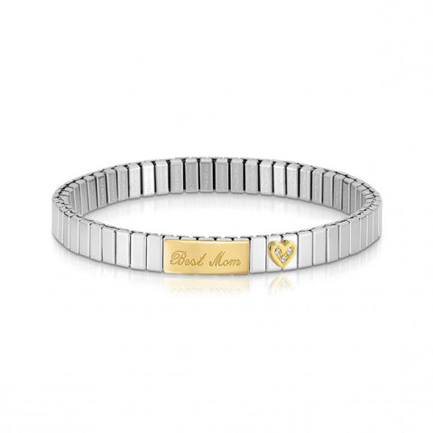 Stretchable Bracelet with Best Mom in Gold