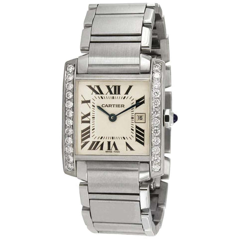 Cartier Tank Francaise Midsize Custom Diamond Bezel 1.1 Carat Watch 2465