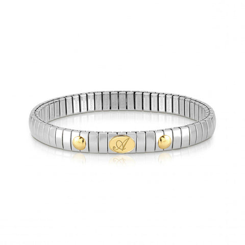 Stretchable Bracelet with Letter in Gold & Stainless Steel