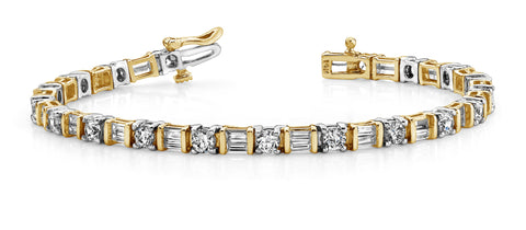 Brilliant Round/Baguette Diamonds Two Tone Bracelet