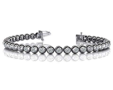 Round Bezel Set Diamond Bracelet