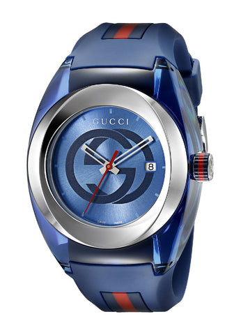 Gucci SYNC XXL Blue Rubber Blue Dial Watch YA137104