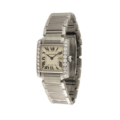 Cartier Tank Francaise Midsize Custom Diamond Bezel 1.6 Carat Watch 2465
