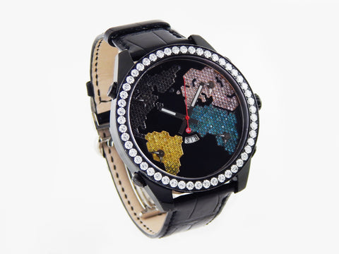 "Jacob & Co. 5-Time Zone Diamond ""The World is Yours"" Black 47mm PVD Watch"