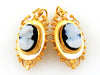 Vintage Victorian Estate Cameo Black Onyx Brooch & Earrings Set