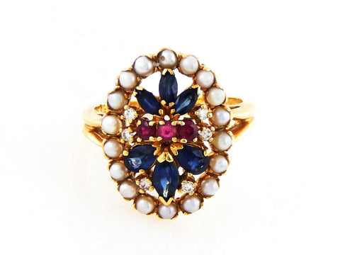 1930's 14k Gold Multi-Stones Ring