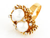 18k Gold Natural Pearls with Diamonds 1950s Ring