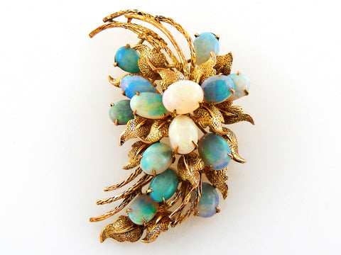 Antique Natural Opals Gold Brooch