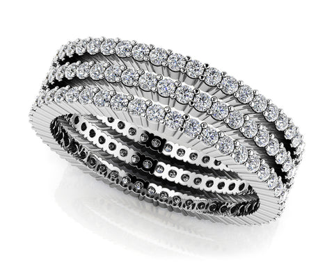 Three Stacked Diamond Eternity Ring Set