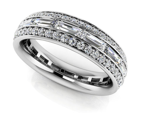Brilliant Baguette and Round Diamond Eternity Ring