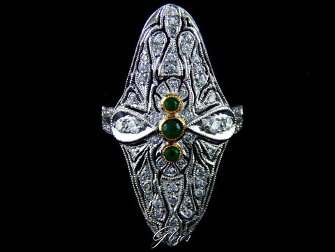 Edwardian North to South Navette Platinum Diamond & Emerald Ring