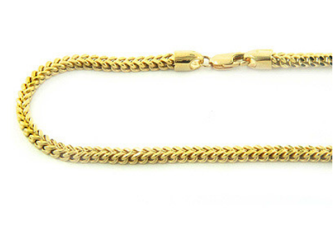 14K Solid Gold Franco Chain 3.5mm Wide 30-40in.