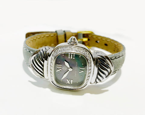 David Yurman Sterling Silver Diamond MOP Dial Watch T-23215