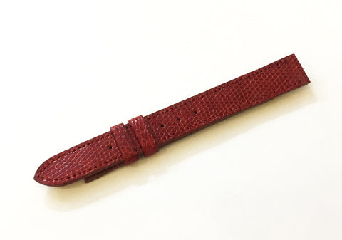 Cartier Red Genuine Lizard Watch Strap 12mm