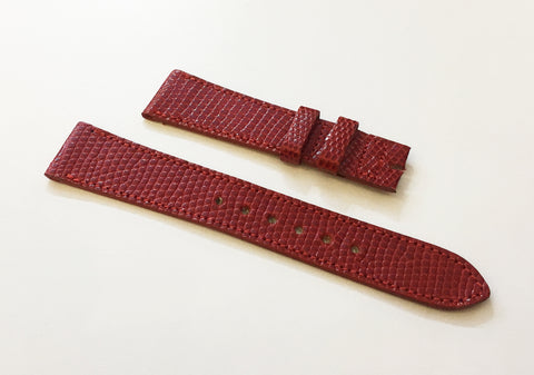 Cartier Red Genuine Lizard Watch Strap 17mm