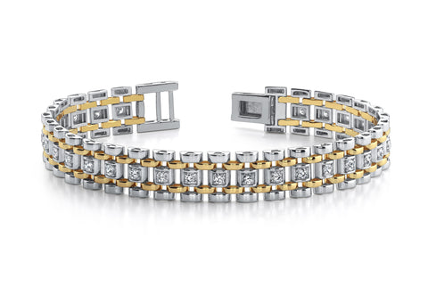 Mens Two Tone Diamond Bracelet