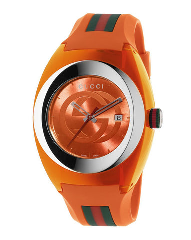 Gucci SYNC XXL Orange Rubber Orange Dial Watch YA137108