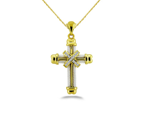 Gold Cross Diamond Pendant