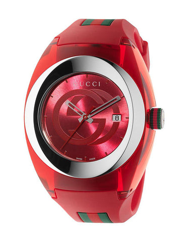 Gucci SYNC XXL Red Rubber Red Dial Watch YA137103