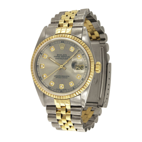 Rolex Datejust 35 Two-Tone Silver Diamond Dial Watch 6594453