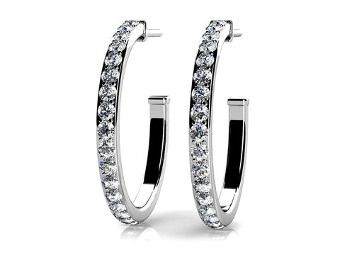 Classic Single Row Diamond Hoop Earrings