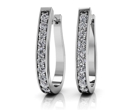 Flame Shaped Diamond Hoop Earrings