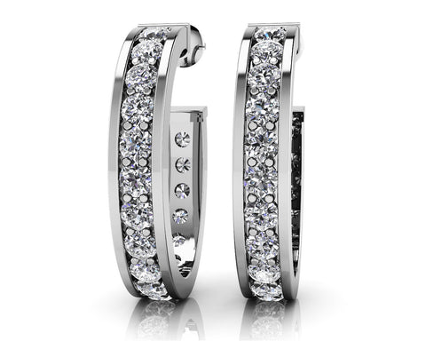 Shared Prong Set Diamond Oval Hoop Earrings