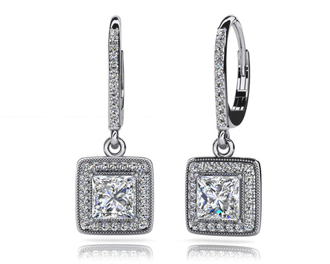 Milgrain Princess Cut Diamond Drop Earrings