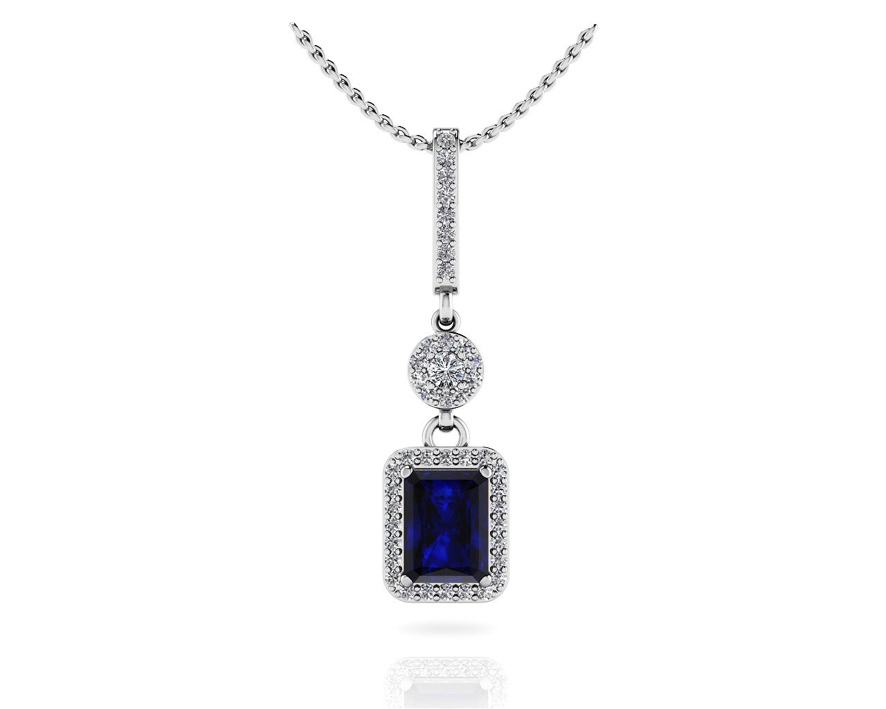 Love spell blue sapphire diamond pendant crown jewelers love spell blue sapphire diamond pendant aloadofball Image collections