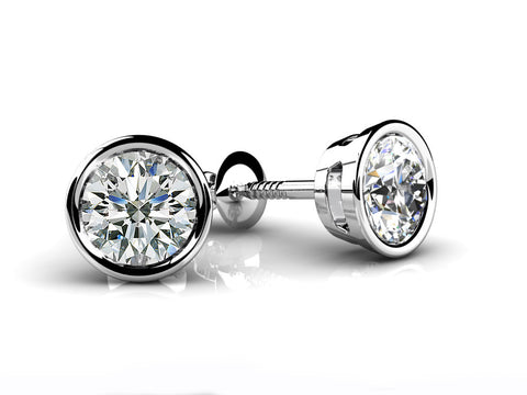02b125d92df 14k Gold Bezel Set Diamond Studs