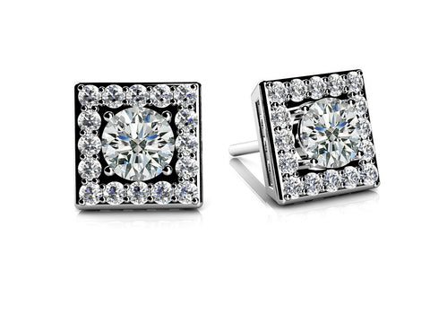 14k Gold Square Diamond Studs