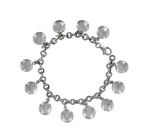 Tiffany & Co Silver Dangling Round Discs Charm Bracelet