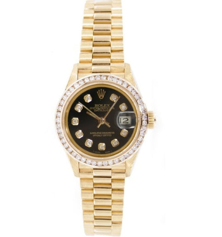 Rolex Oyster Perpetual Datejust 26 Yellow Gold Aftermarket Diamond Bezel Watch 69178