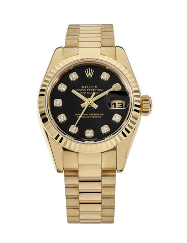 Rolex Oyster Perpetual Datejust 26 Yellow Gold Black Diamond Dial Watch 69178