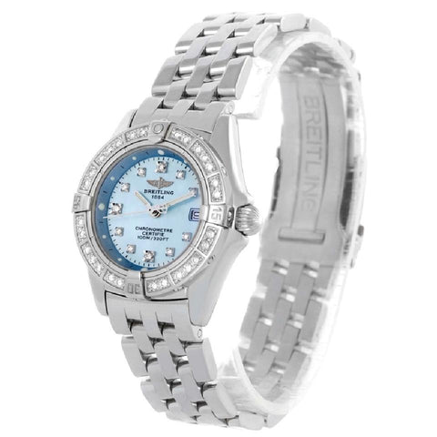 Breitling Silver Callisto Ladies Blue Mother Of Pearl Diamond A72345